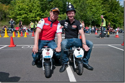 John McGuinness & Shakey Byrne have an 'arresting time' at the BikeWise Mini Bike Club