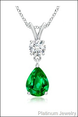 Pear Emerald and Diamond Pendant