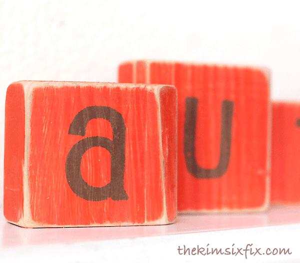 Sanded letter blocks
