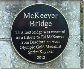 plaque on footbridge over avon