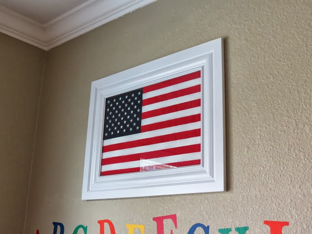 Classroom Baseboard Framed American Flag www.stylewithcents.blogspot.com