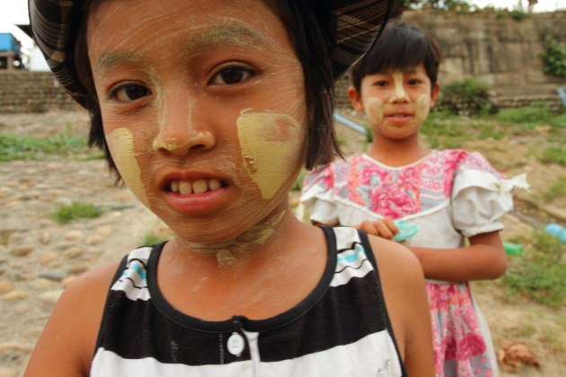 Young Myitkyina girls with Thanaka on their faces