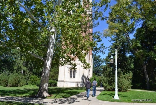 Walking through the center of campus