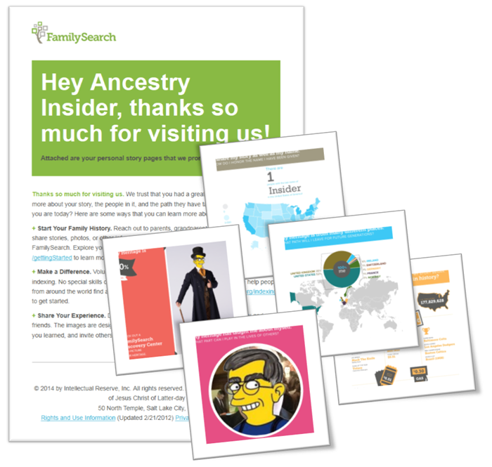 Email and attachments from the FamilySearch Discovery Center