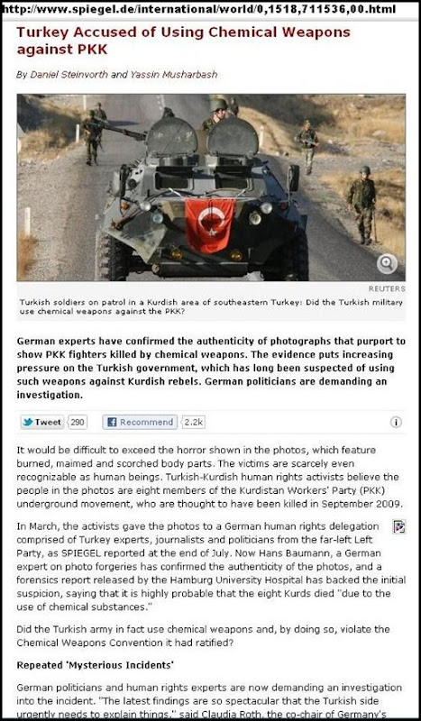 CHEMICAL WEAPONS TURKEY ACCUSED OF KILLING PKK FIGHTS KURDS SPIEGEL GERMANY