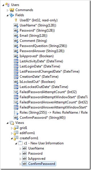 'ConfirmPassword' data field created in 'createForm1' view.