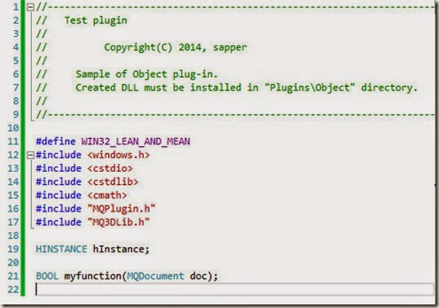 myplugin cpp lines 1 to 22