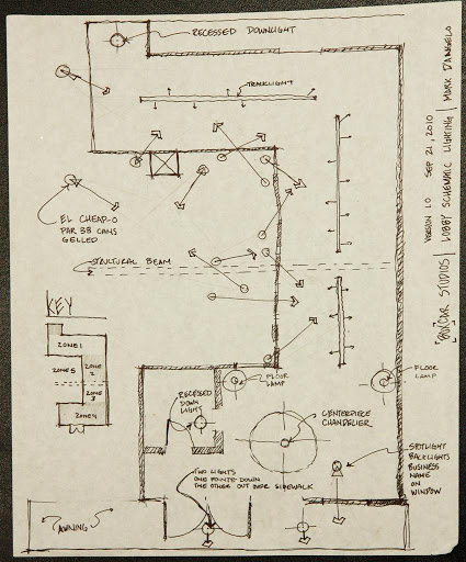 Plan View of Schematics of interior lighting for the Lobby and entry of Boxcar Theater's new studio theater