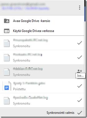 Google Driven työpöytäsovellus näyttää aseman historian ja tarjoaa jakamismahdollisuuden.