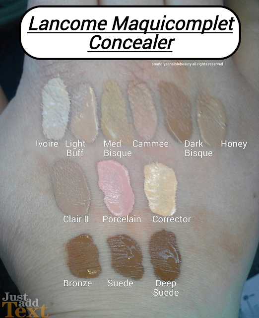 Lancome MaquiComplet Concealer; Review & Swatches of Shades- Ivoire, Light Buff, Medium Bisque, Camee, Dark Bisque, Honey, Clair II, Porcelain, Corrector, Bronze, Suede, Deep Suede, Caramel
