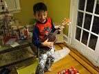 Eidan enjoying his new ukulele