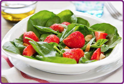 Spinach Salad with Strawberry Vinaigrette and Pistachios