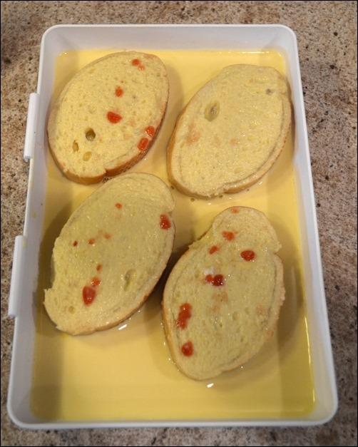 dip bread in egg mixture