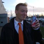 drinking a fristi at the zaanse schans in zaandam in Zaandam, Noord Holland, Netherlands