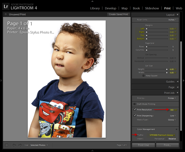 Lightroom Epson Stylus Photo Glossy Settings