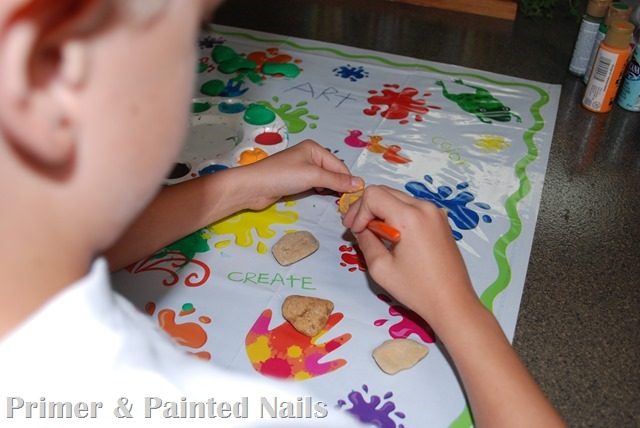 Tic Tac Toe Board Painting - Primer & Painted Nails