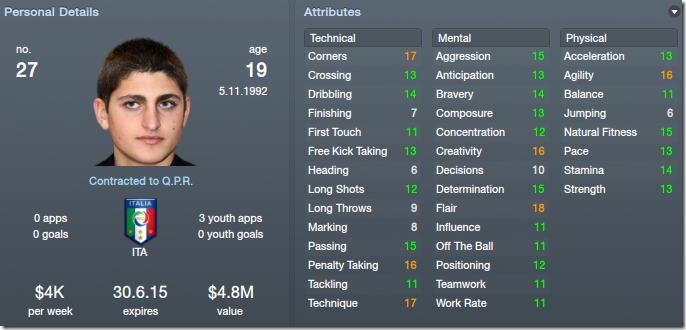 Verratti as a playmaker in my FM 2012 tactics