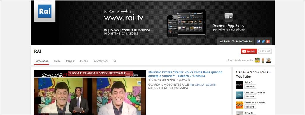 Rai su YouTube