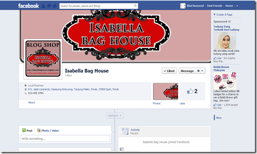 facebook Isabella bag house