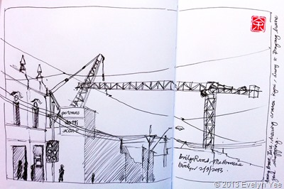 Crane and streetscape sketch
