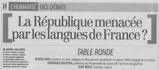 supausat debat sobre lo tèma langues de France