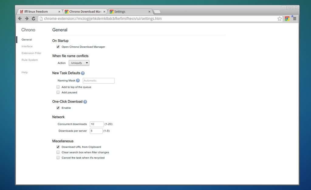 Chrono Download Manager - Preferenze