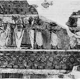 An offering of a votive ship and two calves, with a priestess pouring a libation, painting on a terra-cotta sarcophagus (1400 bc).jpg