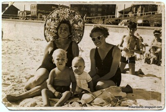 Beatrice(I think), Marj, Peter & Graham ~1940 Bondi Beach