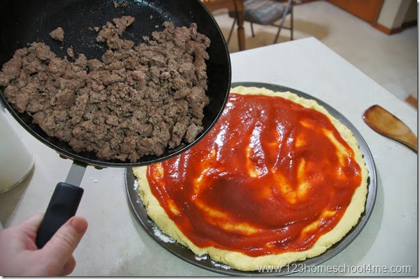 top with taco seasoned gorund beef