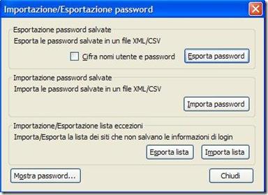 Importazione Esportazione password Firefox