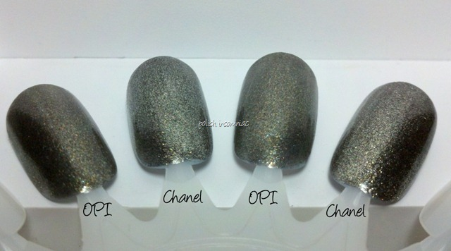 Chanel Graphite vs OPI Number One Nemesis 2 coats