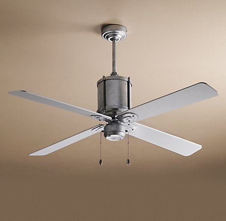 The galvinized steel finish on this ceiling fan will add a modern, industrial touch to your space.  (restorationhardware.com)