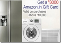 Amazon: Upto 20% OFF + Extra 10% OFF + Free Rs. 3000 Amazon Gift Card on Large Appliances