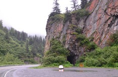 tunnel for the unfinished railroad from Valdez