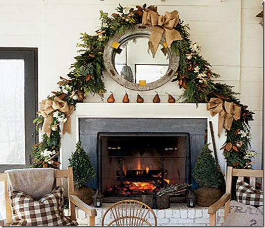 holiday-mantel-burlap-southern accents chic coastal living