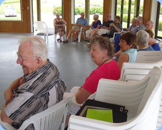 Some of our members relaxing to the music in the lovely Okura Country Club's Community Hall.