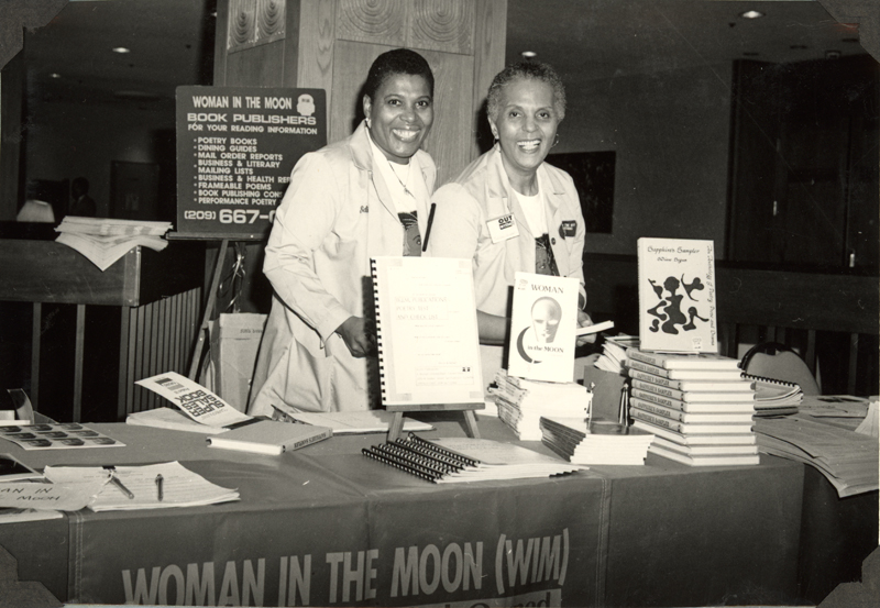 S. Diane Bogus and Tritby Nelson of Woman in the Moon (WIM) Publications at the OutWrite Conference in San Francisco. May 3-4, 1990.