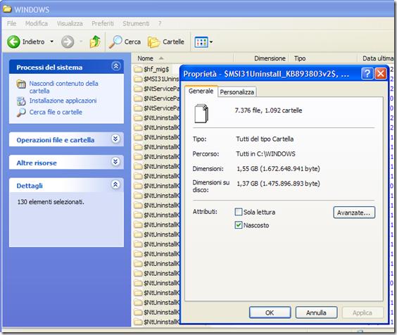 Dimensioni totali delle cartelle di backup dei vecchi aggiornamenti di Windows XP