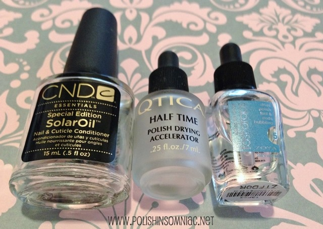 Help your mani dry faster and prevent smudging with CND Solar Oil or Drying Drops from Qtica or Zoya