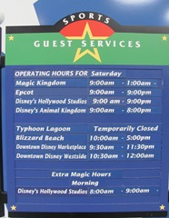 Disney trip All Star Resort board w park info