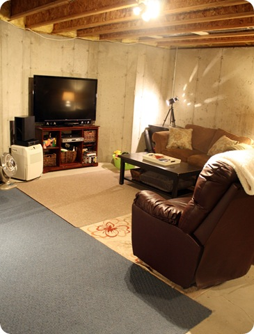 underground family room from thrifty decor chick rh thriftydecorchick com Old Basement Unfinished Basement Ideas