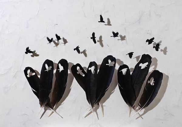 Creative Feather Art Work Seen On www.coolpicturegallery.us