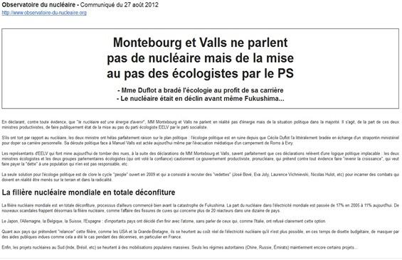 Valls Montebourg Observatoire du Nucléaire comunicat del 270812