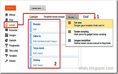 Cara Membuat Menu Halaman Pada Blog