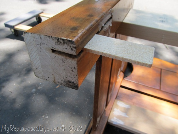filling a slat in a headboard