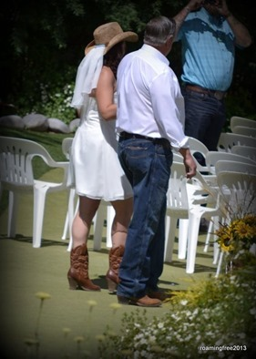Even the bride was in cowboy boots and a hat!