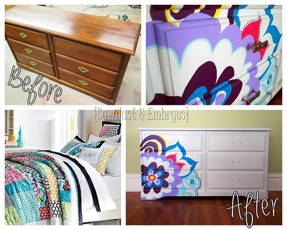Paint a dresser to coordinate with comforter! {Sawdust and Embryos}