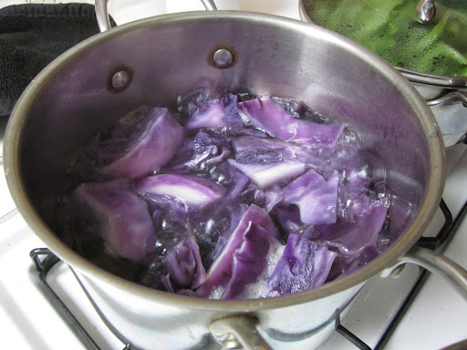 To create dye, I chopped up half a head of cabbage and boiled it in three cups of water for 30 minutes. I did the same with the beet dye, and for coffee I just brewed a very strong pot. The dyes cooled on my counter overnight.