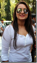 Actress Sonakshi Sinha Hot Stills in White Dress