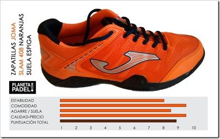 Nuevo calzado JOMA Slam 408 Suela Espiga Naranjas: excelente relación calidad-precio. Análisis Planeta Pádel Web